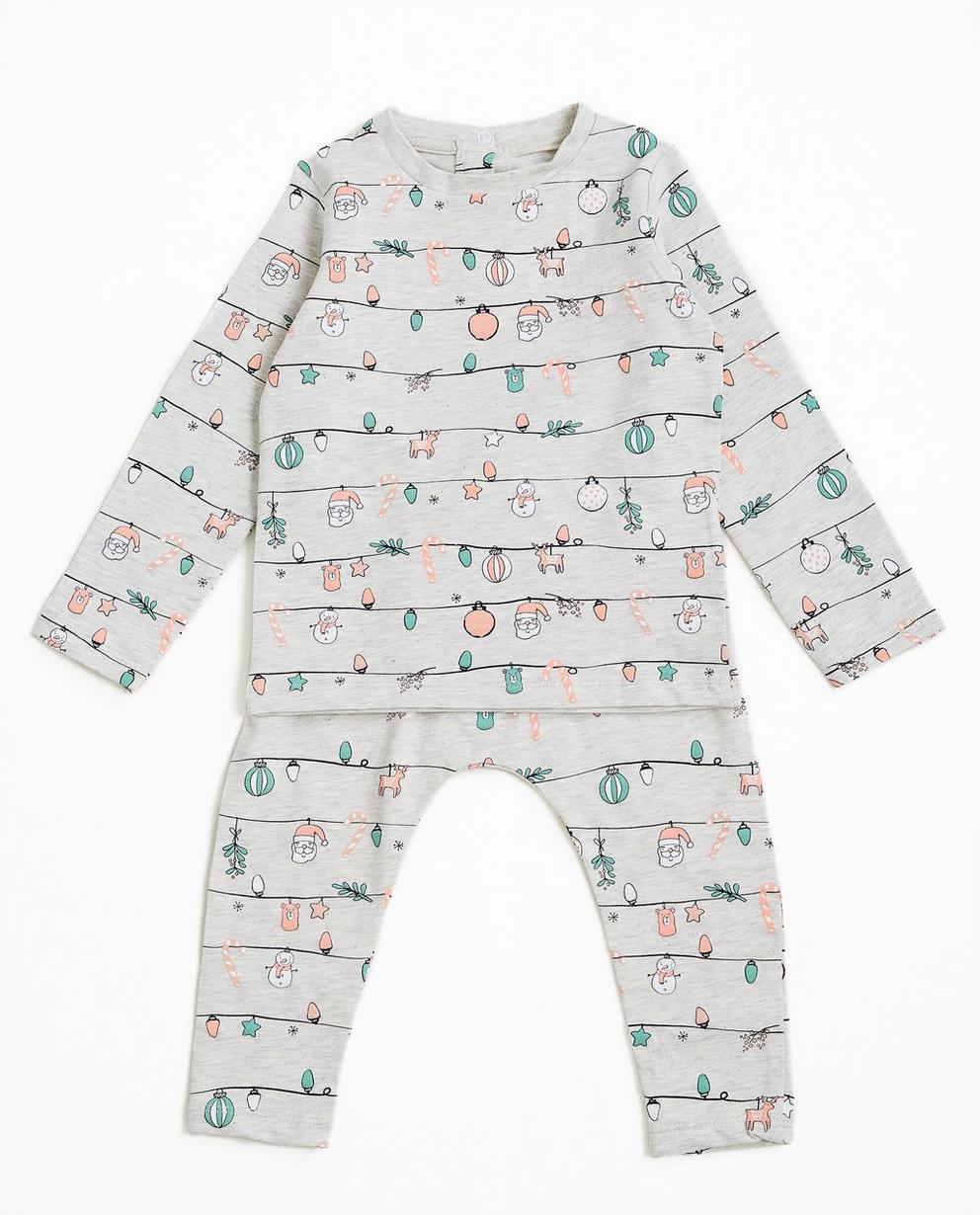 Pyjama à motif de Noël  - gris clair - JBC